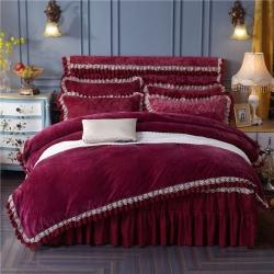 法兰花园-法莱绒加厚床裙式四件套+床裙