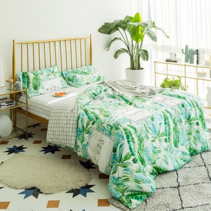 (总)欧麦家家纺 13372全棉色织水洗棉四件套床笠款