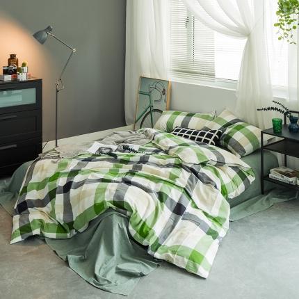 欧麦家家纺 2019基础款水洗棉四件套床单款 绿中格