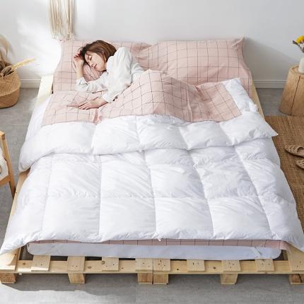 欧麦家家纺 2019新款全棉色织水洗棉旅行睡袋 粉灰中格