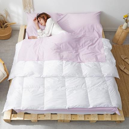 欧麦家家纺 2019新款全棉色织水洗棉旅行睡袋 紫中条