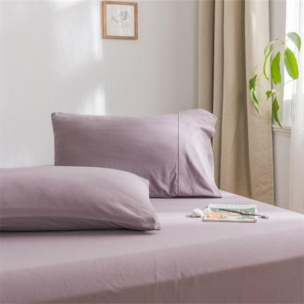 (总)欧麦家 2019针织天竺棉纯色单枕套一对