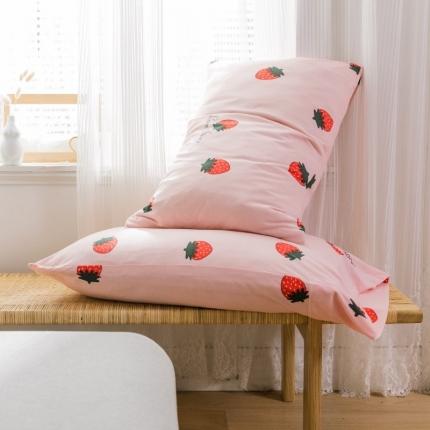 欧麦家 2019针织天竺棉印花单枕套一对 小草莓