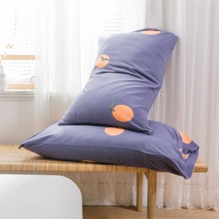 欧麦家 2019针织天竺棉印花单枕套一对 小香橙