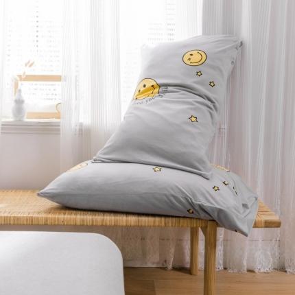 欧麦家 2019针织天竺棉印花单枕套一对 笑脸