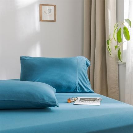 欧麦家 2019针织天竺棉纯色单枕套一对 月光蓝