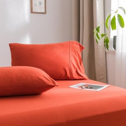 欧麦家 2019针织天竺棉纯色单枕套一对 砖红