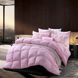 绒研羽绒 100支全棉缎条羽绒冬暖被 粉色
