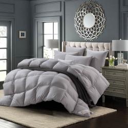 絨研羽絨 100支全棉緞條羽絨冬暖被 灰色