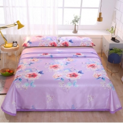 錦鴻居冰絲席可機洗冰絲涼席三件套數碼印花床單款涼席伊人花海紫
