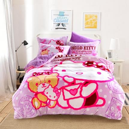 迪士尼家居馆 kt猫法莱绒套件床单款 爱的信件