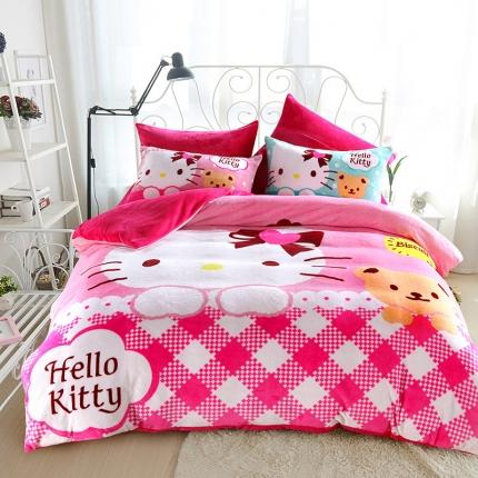 迪士尼家居馆 kt猫法莱绒套件床单款 烘焙时光
