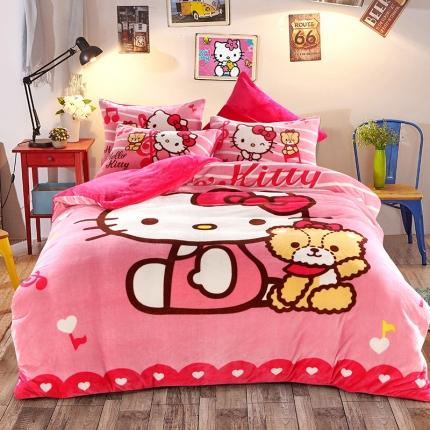 迪士尼家居馆 kt猫法莱绒套件床单款 欢动的音律