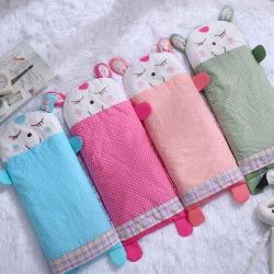 酷逗 全棉绣花儿童枕儿童枕套荞麦枕芯小米壳枕芯