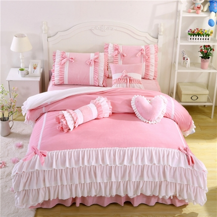 (总)红珍珠家纺 菲儿四色床裙四件套
