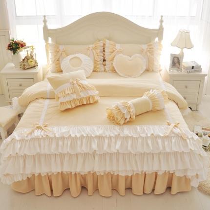 红珍珠家纺 菲儿四色床裙四件套 菲儿粉黄
