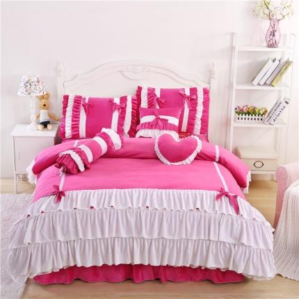 红珍珠家纺 菲儿四色床裙四件套 菲儿玫红