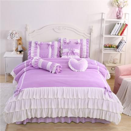 红珍珠家纺 菲儿四色床裙四件套 菲儿紫白