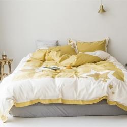 时光里 60支长绒棉四件套五角星系列棚拍图 姜黄色