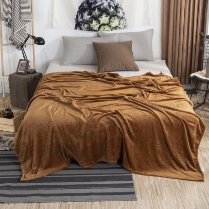 素素纺织 2019法兰绒毛毯 咖啡