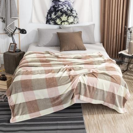 素素纺织 2019法兰绒毛毯 蜜粉格