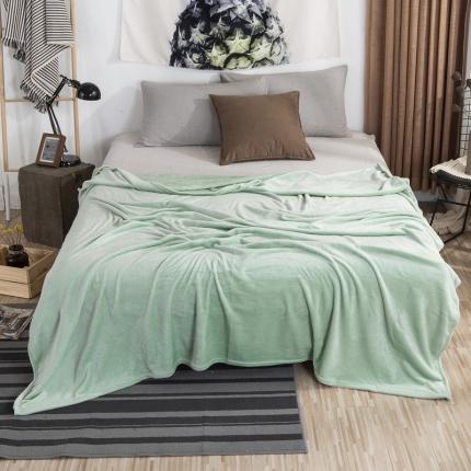 素素纺织 2019法兰绒毛毯 抹茶绿