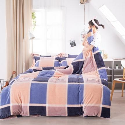 素素纺织韩版抗静电珊瑚绒法兰绒牛奶绒活性印花四件套岁月悠窗