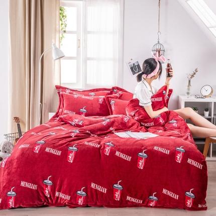 素素纺织韩版抗静电珊瑚绒法兰绒牛奶绒活性印花四件套乐天派