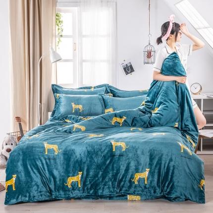 素素纺织韩版抗静电珊瑚绒法兰绒牛奶绒活性印花四件套金钱豹绿