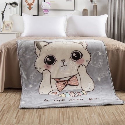 素素纺织 双层加厚保暖立体压花童毯云毯 可爱猫咪-灰