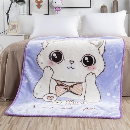 素素纺织 双层加厚保暖立体压花童毯云毯 可爱猫咪-紫