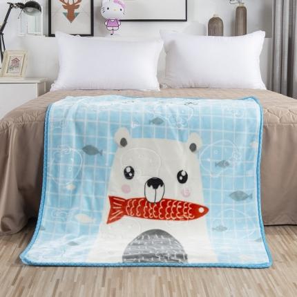 素素纺织 双层加厚保暖立体压花童毯云毯 小白熊
