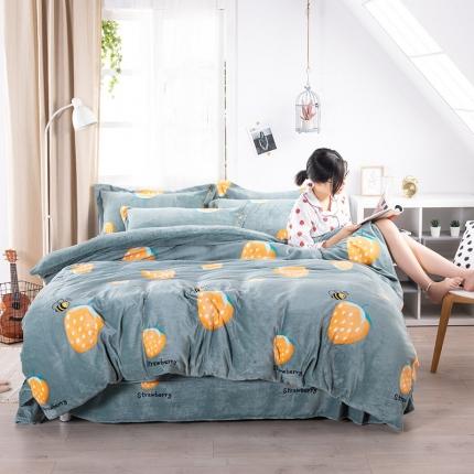 素素纺织韩版抗静电珊瑚绒法兰绒牛奶绒活性印花四件套秘密风情绿