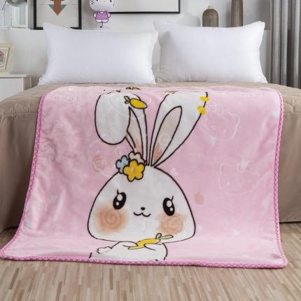 素素纺织 双层加厚保暖立体压花童毯云毯 粉兔