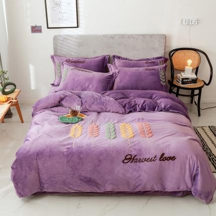 素素纺织 2019新款水晶绒活性印花保暖四件套穗穗丰收丁香紫