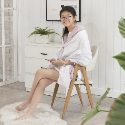 素素纺织 2019雪兔绒+羊羔绒披肩毯艾比粉65*180CM