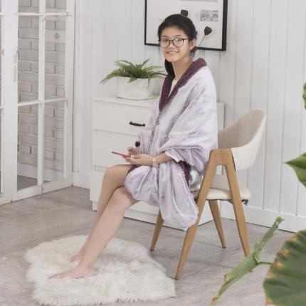 素素纺织 2019雪兔绒+羊羔绒披肩毯豆沙紫65*180CM
