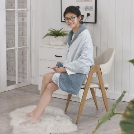 素素纺织 2019雪兔绒+羊羔绒披肩毯孔雀蓝65*180CM