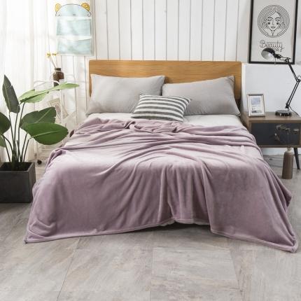 素素纺织 2019新款马卡龙色珊瑚绒升级单层法兰绒毛毯 藕粉