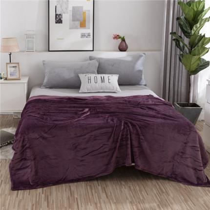 素素纺织2019新款马卡龙色珊瑚绒升级单层法兰绒毛毯 紫罗兰