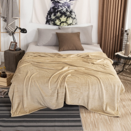 素素纺织 2019新款马卡龙色珊瑚绒升级单层法兰绒毛毯 驼色