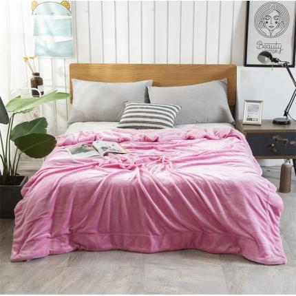 素素纺织 2019新款双层加厚羊羔绒+法兰绒双拼毛毯 少女粉
