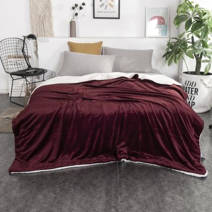 素素纺织2019新款双层加厚羊羔绒+法兰绒双拼毛毯 西班牙红