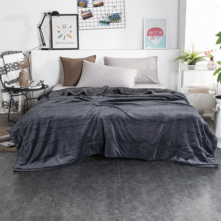 素素纺织 2019新款双层加厚羊羔绒+法兰绒双拼毛毯 深空灰