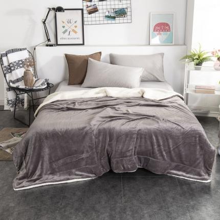 素素纺织 2019新款双层加厚羊羔绒+法兰绒双拼毛毯 太空银