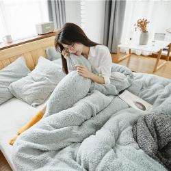 (总)朴本家纺 2018新款针织拼羊羔绒四件套