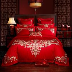 红番天40s全棉13372刺绣婚庆四件套多件套系列二百合热恋