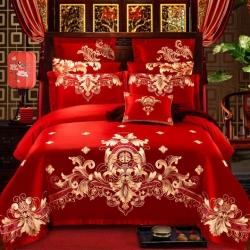 红番天40s全棉13372刺绣婚庆四件套多件套系列二千禧之恋