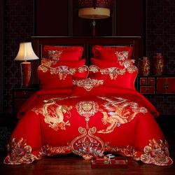 红番天 60s全棉13372刺绣婚庆四件套多件套 金龙瑞凤