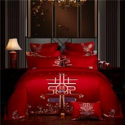 红番天 2019新款全棉刺绣新中式婚庆多件套 年年有喜